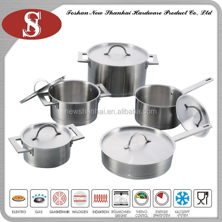 New products 10 Pcs Stainless Steel Impact Straight Bottom Cookware Set