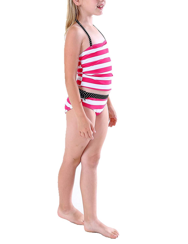 43a61d925f Kids Girls Two Piece Bandeau Tankini Swimsuit Halter Strap Swimwear Bathing  Suit Set Polka DOT &