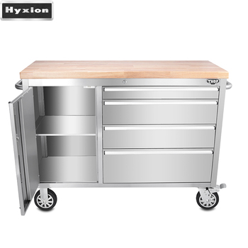 30mm Thickness Rubber Wood Top 48 Inch 4 Drawer Rolling Cabinet