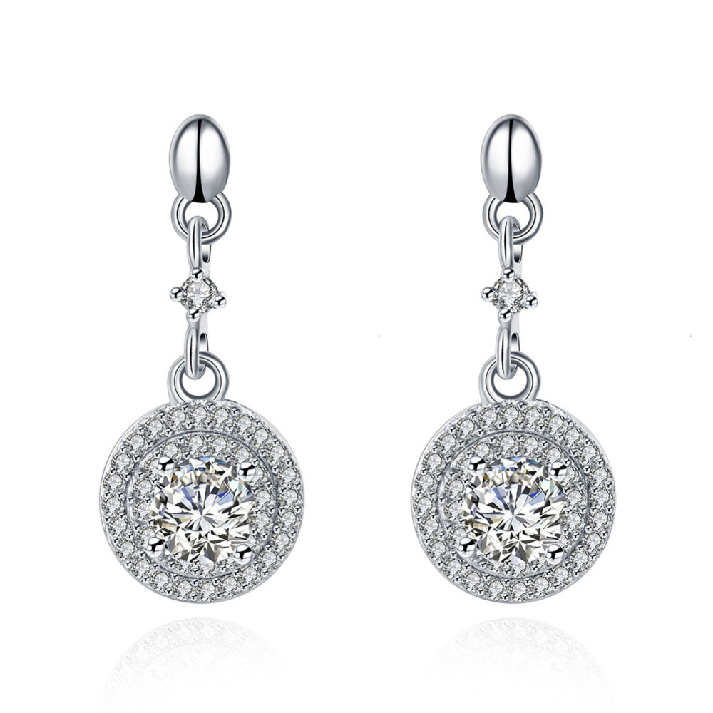 high quality Round earrings nice cubic zirconia drop earrings fashion <strong>jewelry</strong> made in china wholesale
