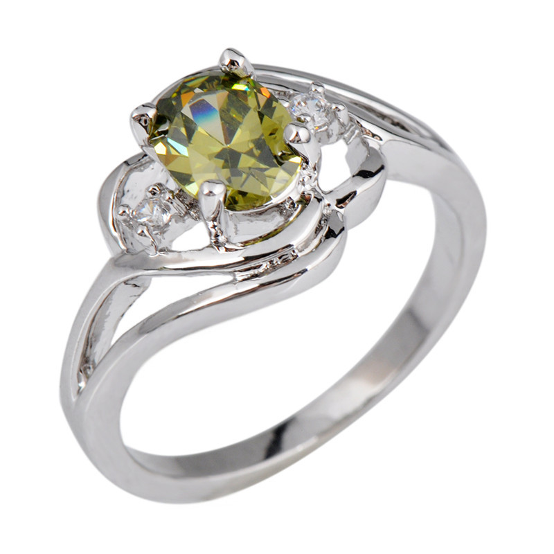 Size 6/7/8/9/10 Olive Green Stone Jewelry Wedding Band Peridot Ring Anel Aneis 10KT White Gold Filled Engagement Rings RW1013