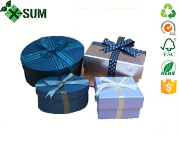 large round empty decorative christmas gift box with lids