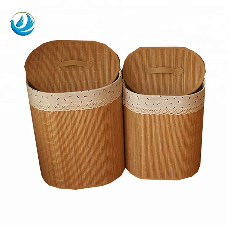 Best Corner Containers Bamboo Laundry Basket For Dirty Cloth With