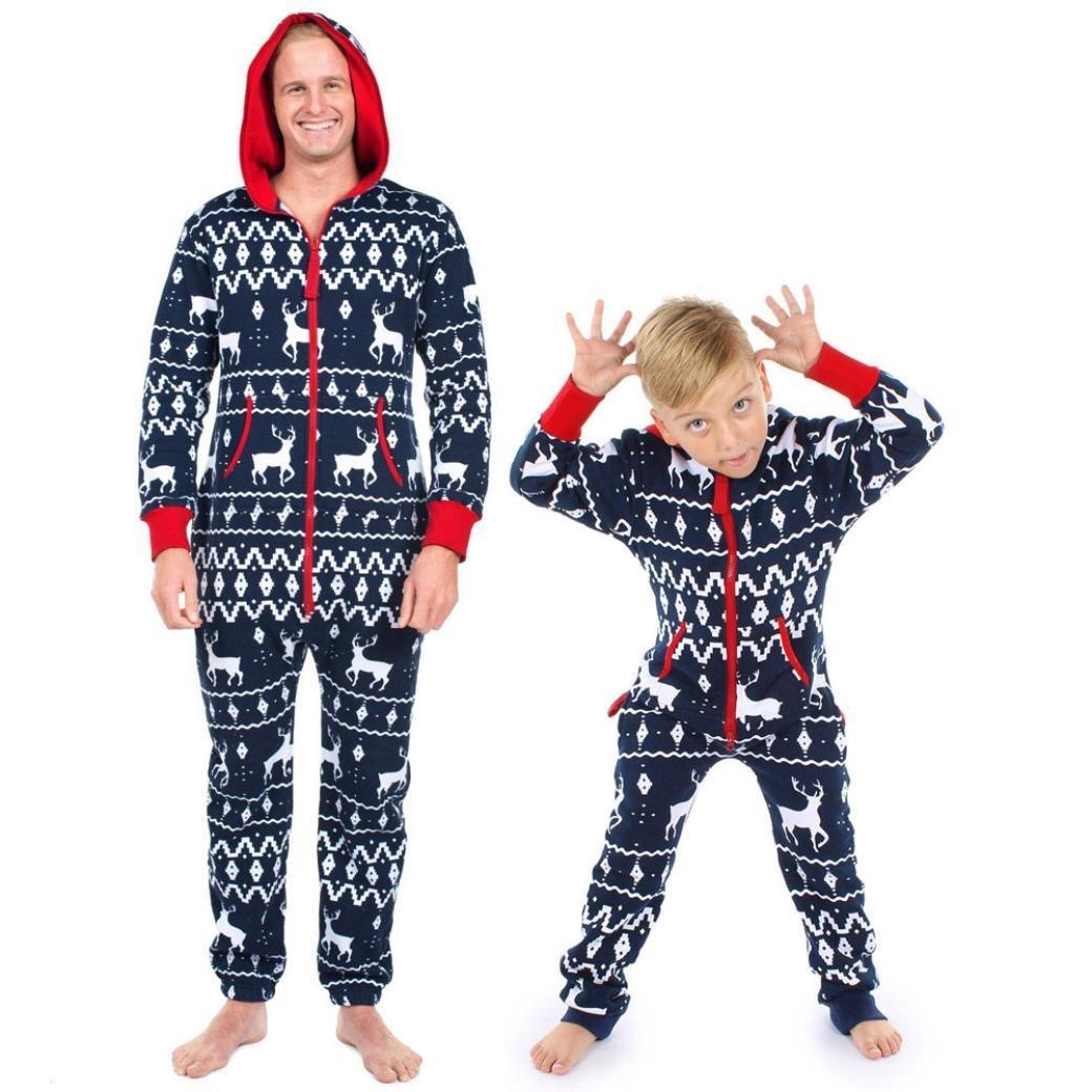 3ec987ef61 Get Quotations · WensLTD Christmas Elk Print Onesie Sleepwear Jumpsuit  Hoodies Matching Family Pajamas