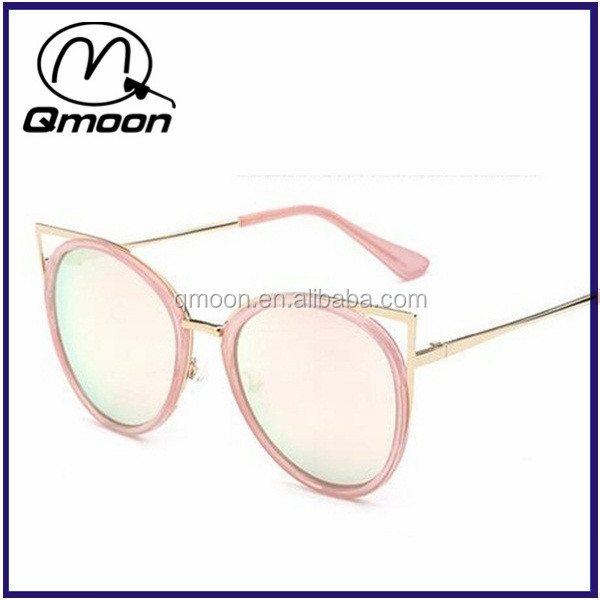Pink lens mirror cat eye metal arm crazy sunglasses party glasses