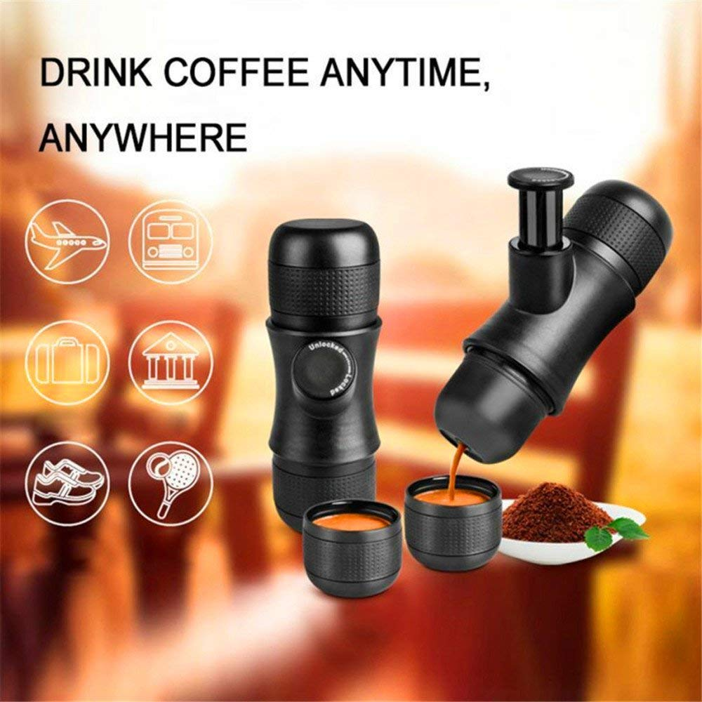 Manual Espresso Coffee Maker - Outdoor Portable No Battery, No Electronic Power Espresso Coffee Machine Maker Mini Hand Pressure Coffee Machine