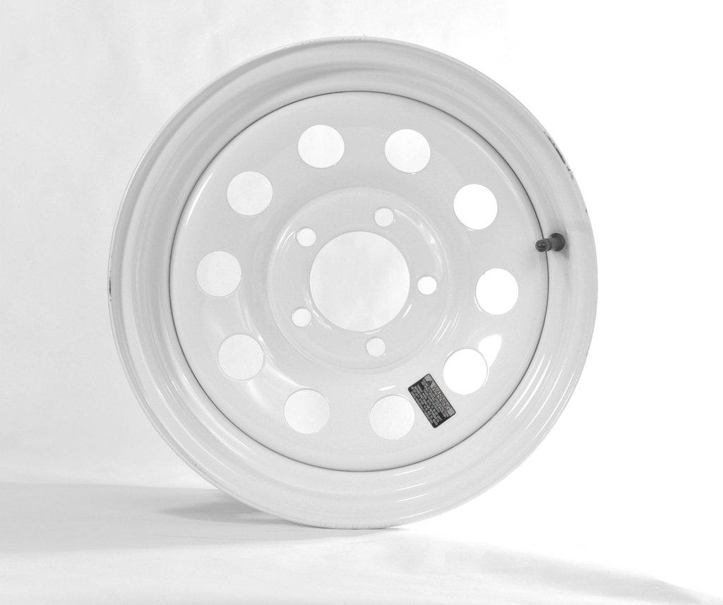 "eCustomRim Trailer Rim Wheel 15"" 15X6 5 Lug Hole Bolt Steel Highway Wheel White Modular"