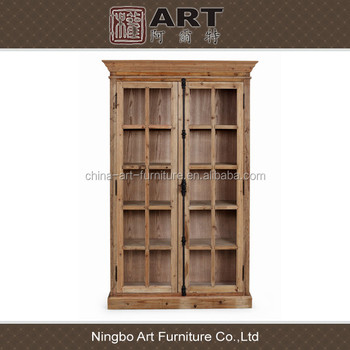 Antique Diningroom Furniture European Design Recycled Wood Display Cabinet