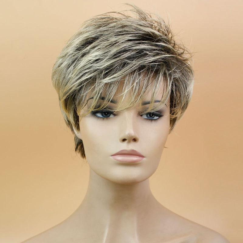 Синтетический полный парик для женщин-русый парик темные корни 8