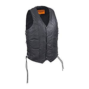 Mens Casual Motorcycle Leather Vest Side Laces (Size 4XL, 60)