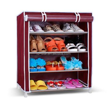 DIY Shoe Cabinet Metal Shoe Storage Closet Folding Fabric Shoe Rack