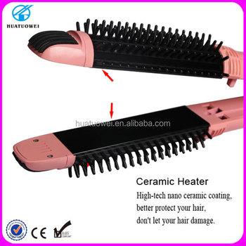 Hot Ing Hair Straightening Brush Ceramic Double Sided