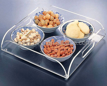 2016 Custom Lucite Crystal Square Serving Tray With Logo