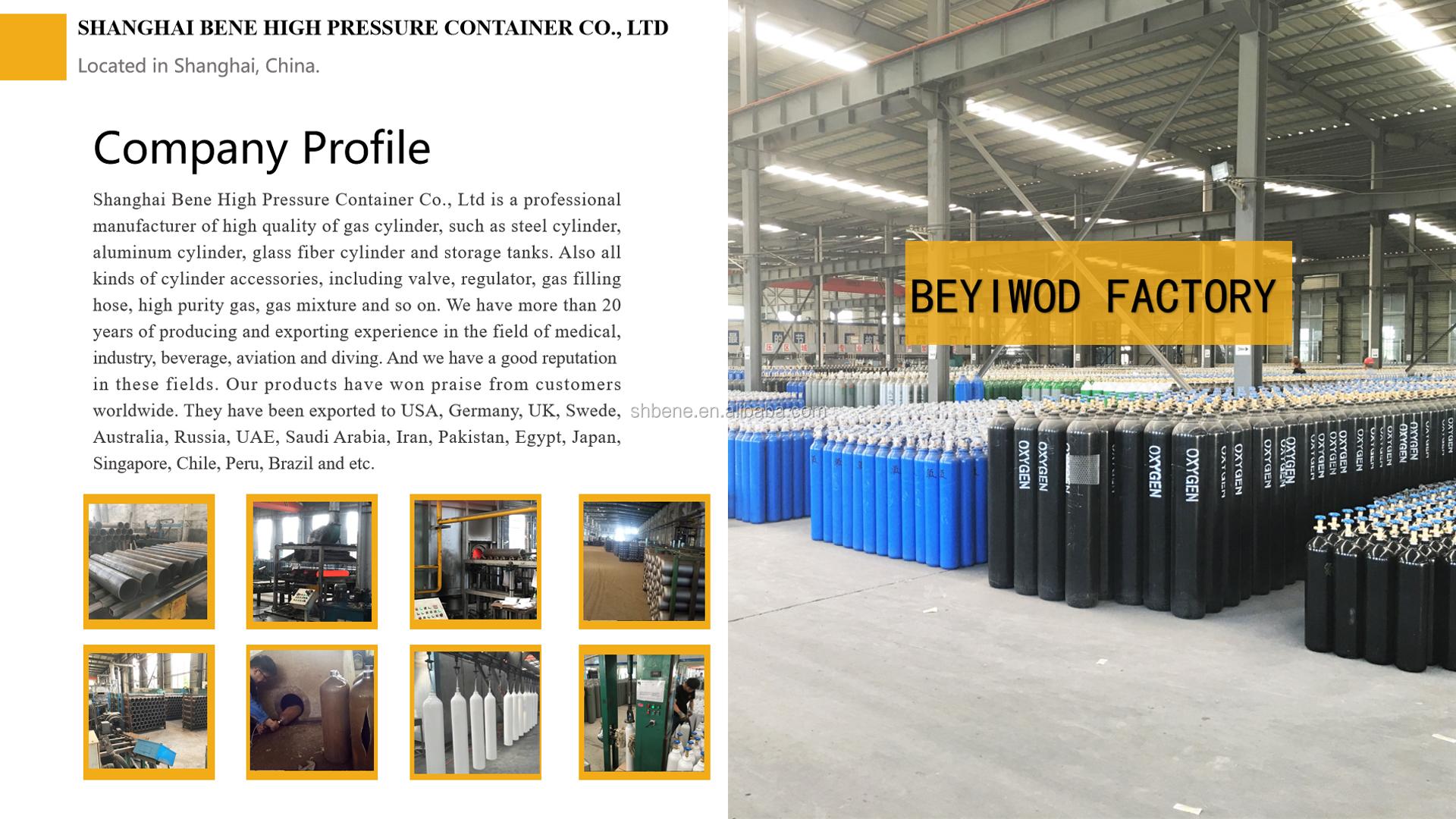 Nokta TPED CE dikişsiz çelik 10l gaz silindiri 150 bar 200 bar iplik kap ve vana içecek ve tıbbi