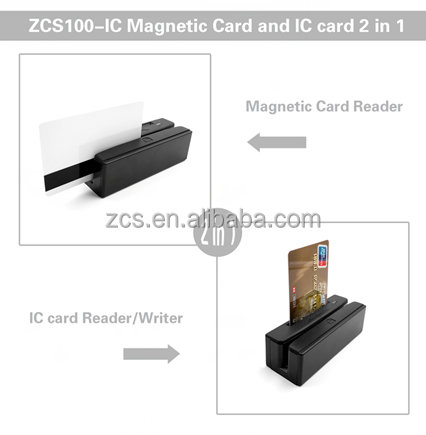 ZCS portable USB msr + ic chip card readers 3 tracks magnetic stripe reader, emv/ic chip card reader & writer SDK