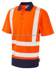 Red EN471 Hi vis 100% cotton work polo t shirt men