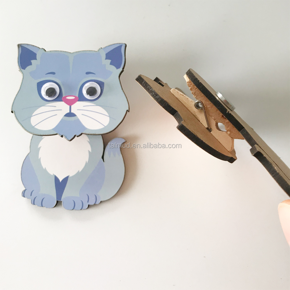 Animal-shaped Colorful Wooden Magnetic Clip