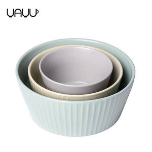 Unique stackable fluted design different size unique salad bowls / funny chinese porcelain rice bowl