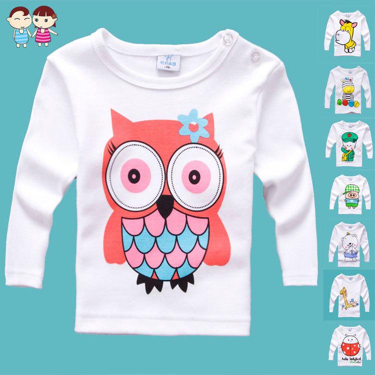 2015 хлопок sz70 ~ 100 ребенка мультфильма - детей топы тис одежда мальчиков девушки с длинным рукавом футболки