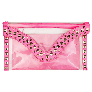 Clear Light Pink Clutch Bags For Women With Zipper