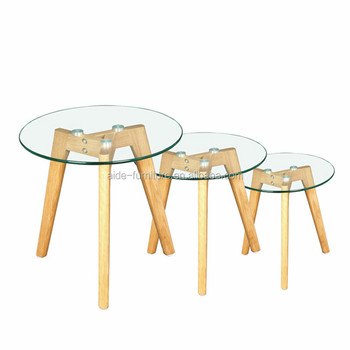 Three Wood Legs Gl Coffee Table For Home Living Furniture Leg Round Product