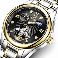 New Style Of Men's Leisure Fashion Black Tourbillon Watch, Automatic Hollow Waterproof Watch