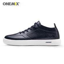 ONEMIX/Мужская обувь; кроссовки; повседневная обувь для скейтборда из мягкой кожи с круглым носком на шнуровке; легкие кроссовки на плоской под...(Китай)