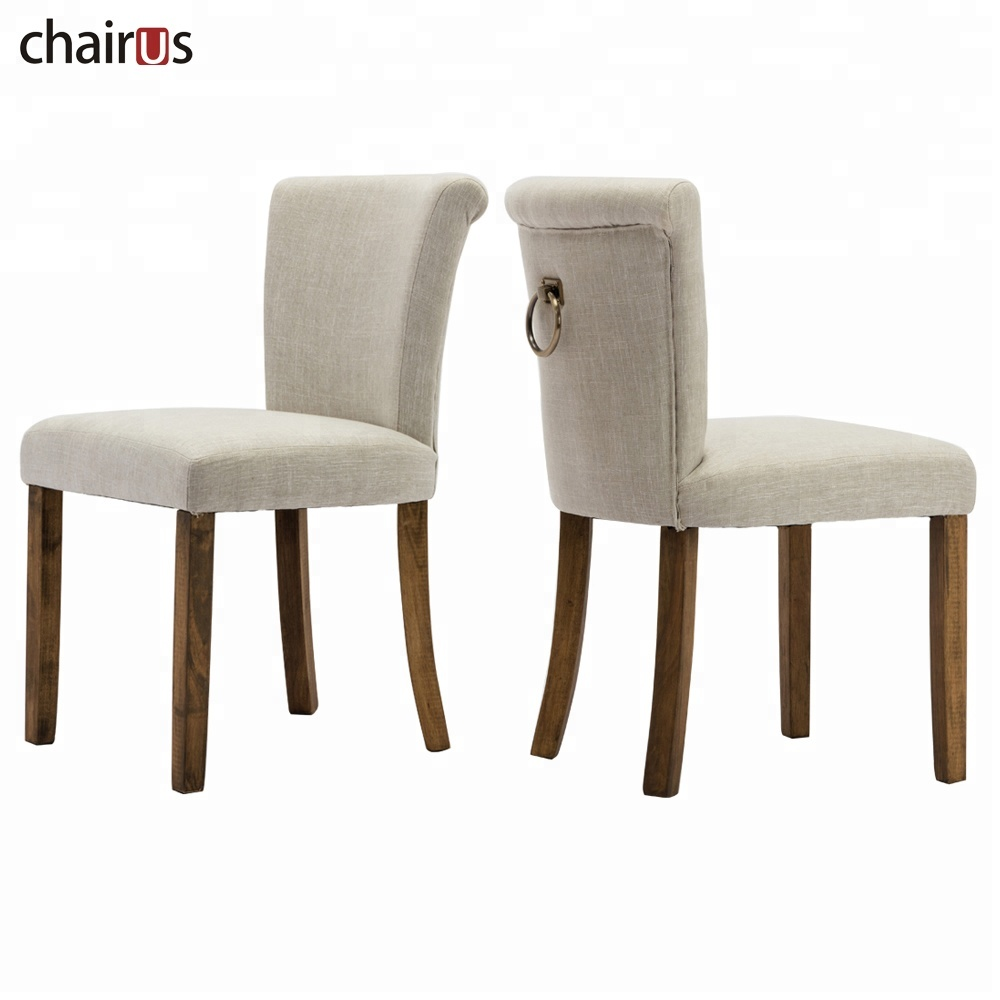 Furniture Fabric Wood Set American Style Comfortable Home Good Cafe Silver Ring Back Classical Wooden Dining Room Chair