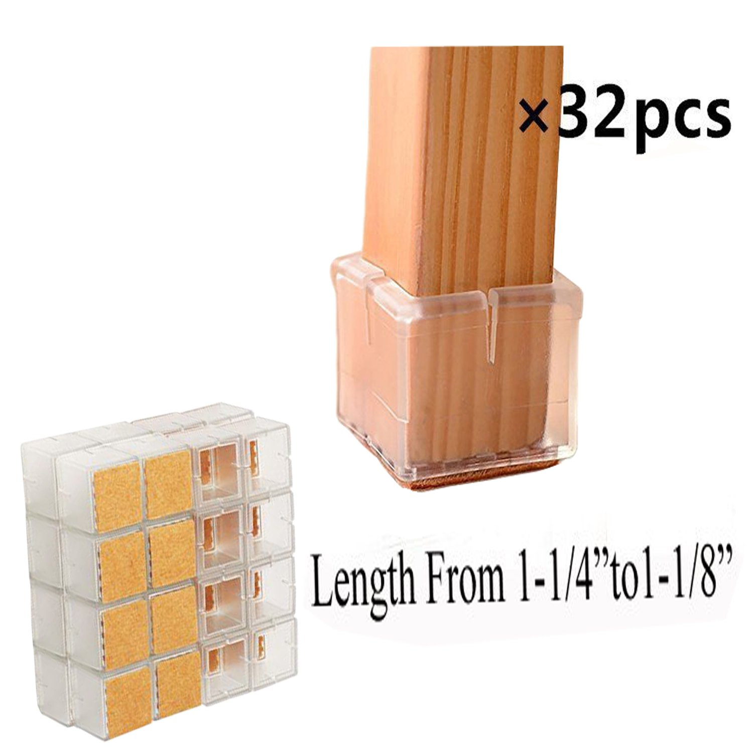 "32 Pack Square Chair Leg Caps Veoley/Durable Chair Leg Pads/Wood Floor Protector/Furniture Table Leg Caps/Silicone Table Furniture Leg Feet Tips Covers Caps/Fit Length 1-1/4""to 1-1/8"""