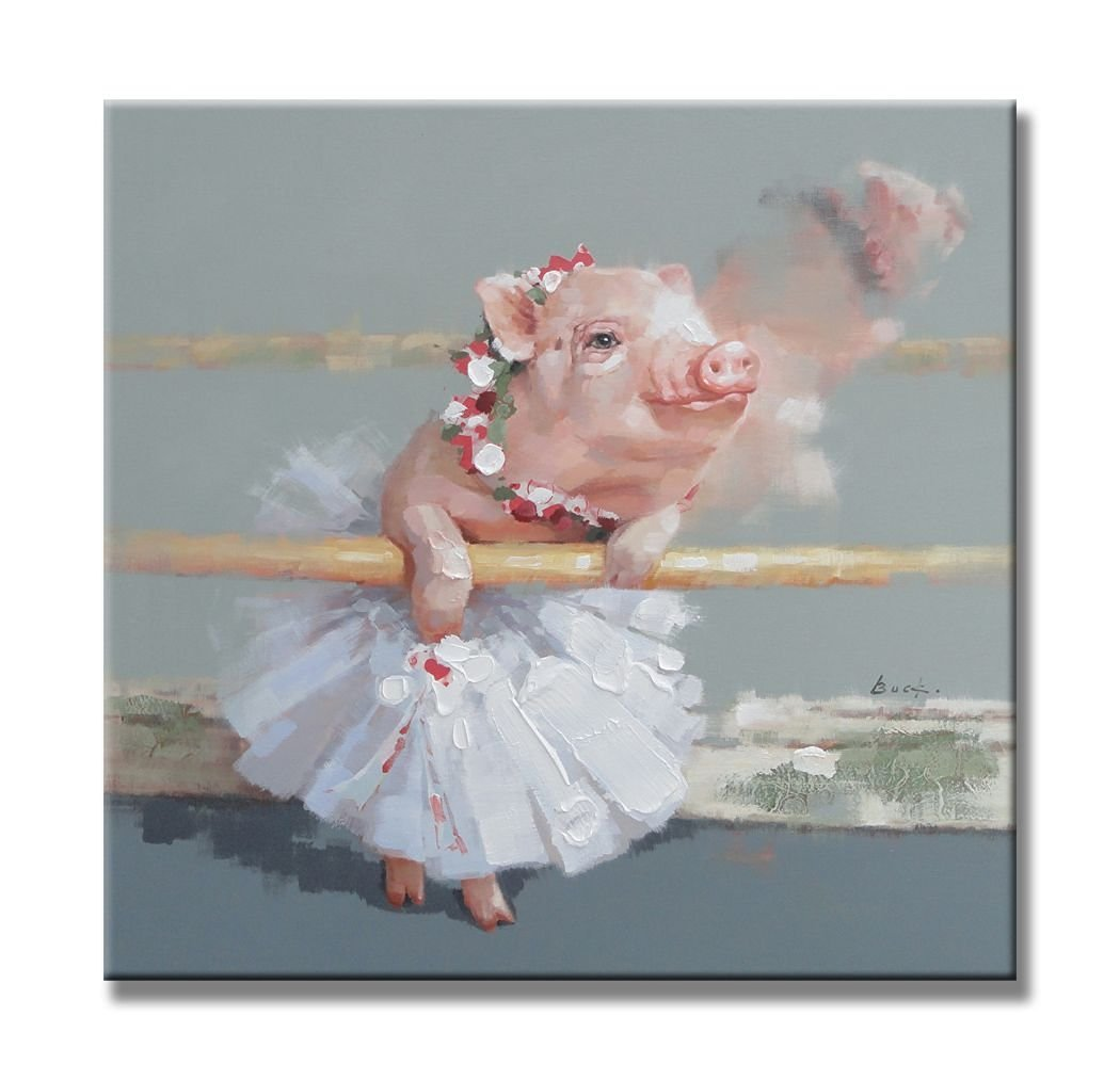 "Sunflower Art the Pink Piggy in Tutus Cute Pig Animals Ballet Paintings 100% Handpainted Canvas Oil Paintings Wood Stretched Home Decor Ready To Hang 24x24"" (60x60cm)"