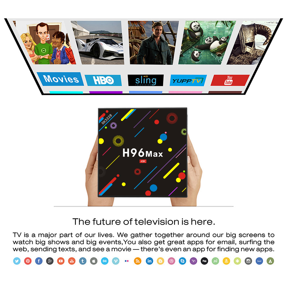 Wholesale factory price android 7.1 smart tv box H96 MAX H2 RK3328 4 core 4G/64G H2 5G Dual WIFI ott android box