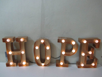 Christmas Sign Metal Industrial Marquee Light Letter Sign,Hope ...
