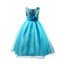 Flower Girls Formal Dress Princess Wedding Party Kids Costume Children Clothing Ball Gown Bridesmaid Tull Sequined Sleeveless