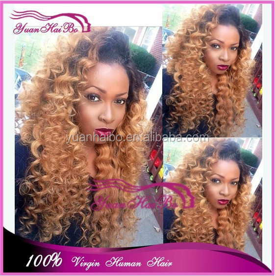 alibaba wigs #1b/27 two tone honey blonde human hair curly wigs 100% virgin brazilian hair ombre color full lace wig