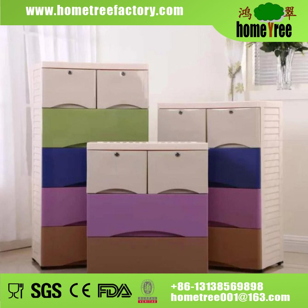 3 4 5 Layer Storage Cabinets Cartoon Clothes Plastic Drawer With Lock