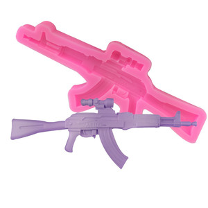 3D fondant silicone gun shaped cake pan mold