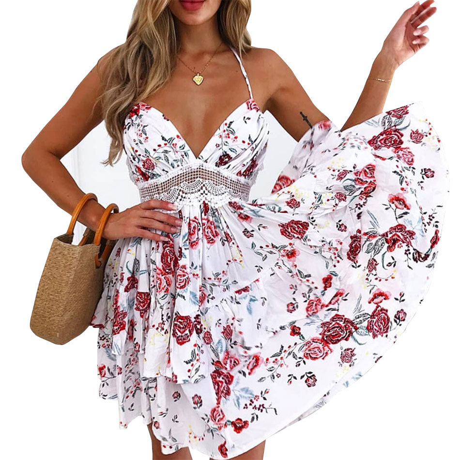 Floral Print Summer Mini <strong>Dress</strong> Women Vintage V Neck Spaghetti Strap Backless Lace Sundress Beach 2019 Boho <strong>Dresses</strong>