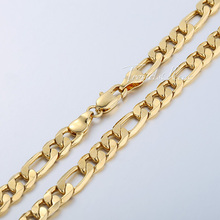 90a20b2557d6a 9.5mm 20 inches Men's Figaro Link Chain 18K Gold Filled Necklace ...