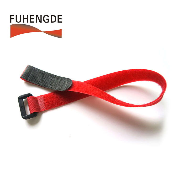 Shenzhen factory custom self locking nylon hook loop strap with logo printing plastic buckle