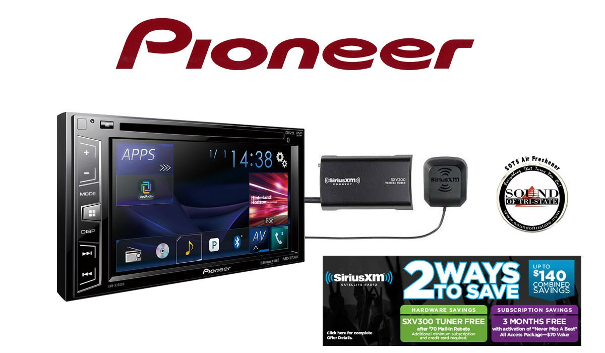 """Pioneer In Dash Double Din AVH-X390BS 6.2"""" DVD Receiver with Built in Bluetooth and SiriusXM Satellite Radio Tuner and Receiver with a FREE SOTS Air Freshener Included"""