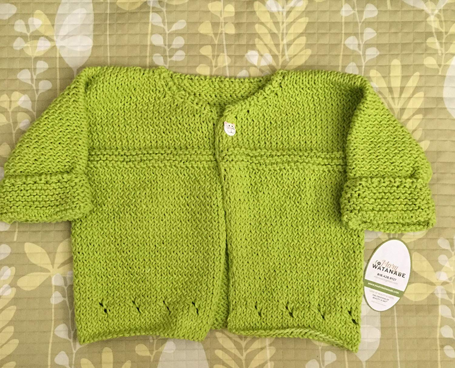 757483069121b2 Get Quotations · Cute Green Hand Knit Baby Sweater--Lime Green--in Cotton  Kitty Button