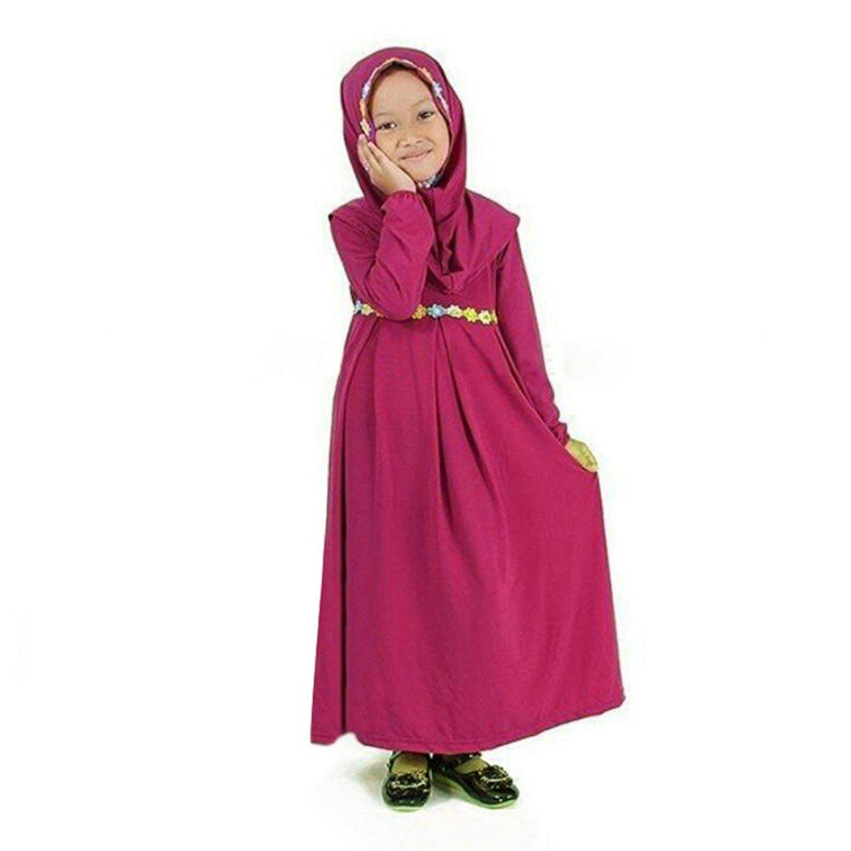 f53ab61f1c Get Quotations · Weixinbuy Toddler Kids Girl Muslim Abayas + Hijab 2PC  Flower Waistband Maxi Jersey Dresses Robe Abaya