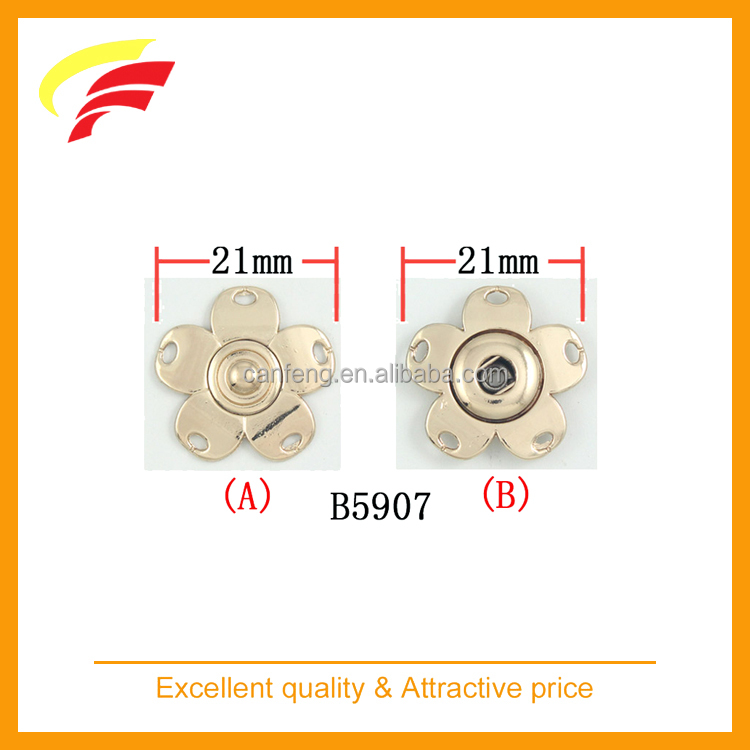 flower shaped zamak metal press snap button for sewing on garment