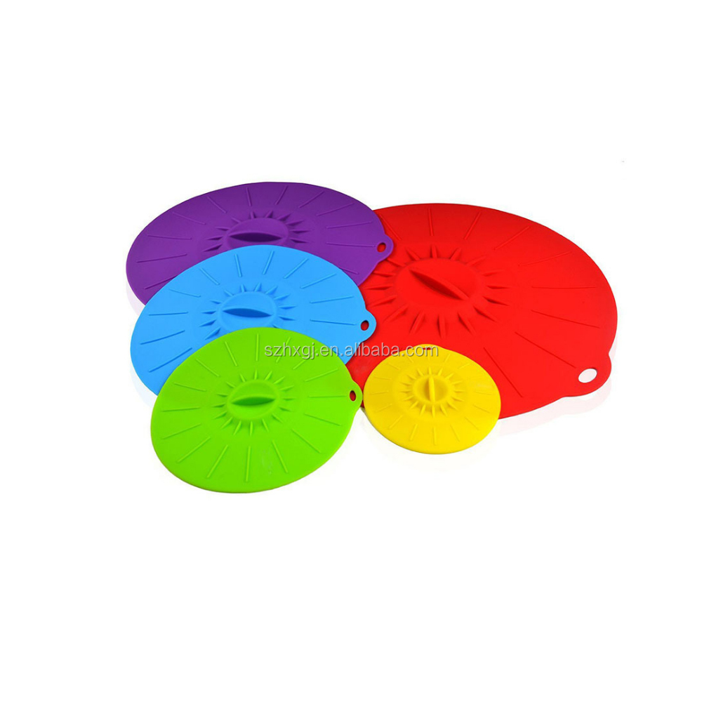 "Microwave Cover Silicone Lids - Set of 5: 6"" 8"" 10"" 12"" 14"" - Suction Covers For Pots, Frying Pans, Bowls, Cups, Skillets - Spla"