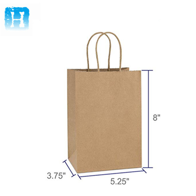 China suppliers different size custom logo kraft paper handle bag with die cut handle for gift