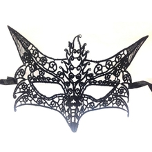 Black Fox Lace Effect Eye Face Mask Masquerade Ball Fancy Dress Party Halloween Eye Mask