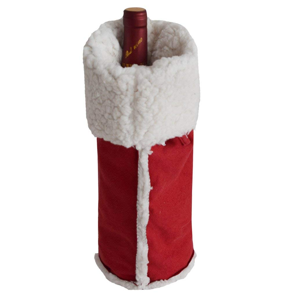 Get Quotations · Gireshome Red Suede Sherpa Wine Bottle Cover Bag for Table  Decorations Gift Bag Christmas Wine Bottle Bag 50734959d6