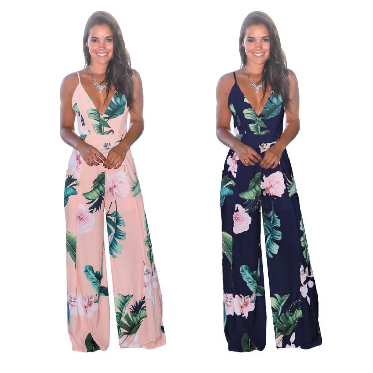 Wholesale Fashion Jumpsuit Lace Up Wide Leg Bohemian Jumpsuit Women Deep V Neck Summer Strap Floral Print Jumpsuit Backless фото