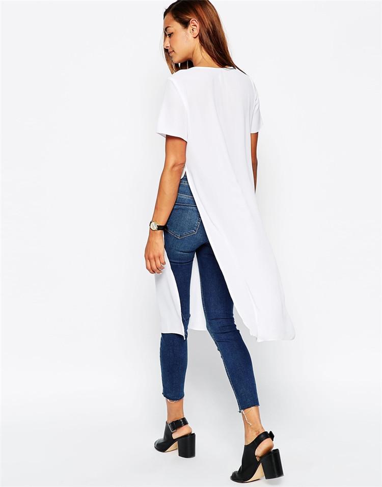 Girls Longline Plain White V Neck 100 Cotton White T Shirt