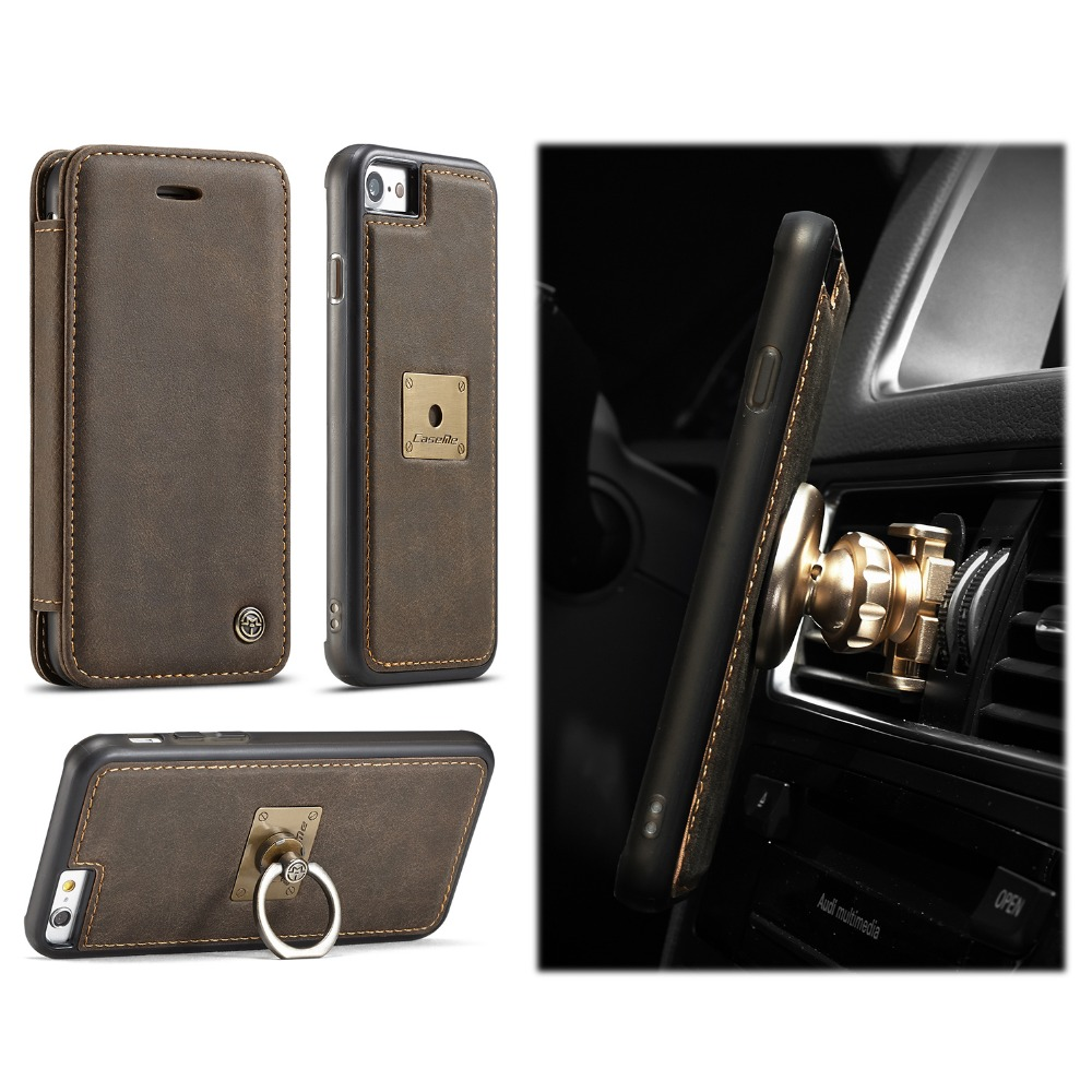 Creative Design 2018 NEW With Removable Back Phone Cover Ring Holder Leather Phone Case With Metal Plate For Magnetic Car Holder